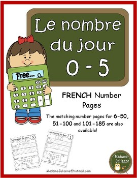 Le nombre du jour 0-5 (French Number of the Day Pages 0-5)