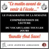 French Reading, Writing, Vocabulary BUNDLE - Ce matin avan