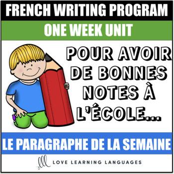 Le paragraphe de la semaine #49 - French primary writing program