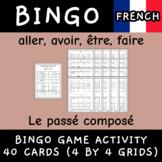 Le passé composé aller avoir être faire conjugation French bingo 40 cards game