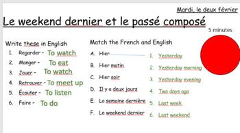 Le passé composé et le weekend dernier - weekend activities in Past tense