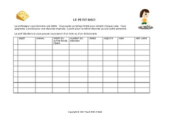 Le petit bac - template - Scategories French game template