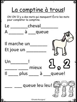 """""""Le petit cheval bleu"""" (Comptine, mots fréquents, lecture, écriture, le son """"e"""")"""