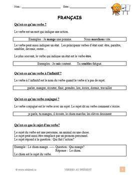 Les verbes à l'indicatif présent, grammaire, French Immersion (#72)