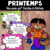 Le printemps - Cartes à tâches - Qui suis-je? French Spring Task Cards