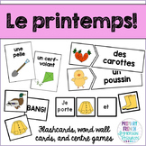 French spring / le printemps - Flashcards, word wall cards, and centre games