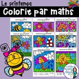 Le printemps:  Spring Themed Color by Code Math Activities in French