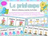 French Spring Vocabulary + Scrambled sentences & matching visuals - Le printemps
