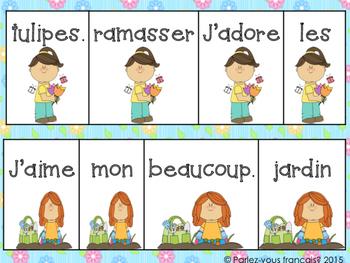French Spring Vocabulary + Scrambled sentences & matching visuals - Le printemps