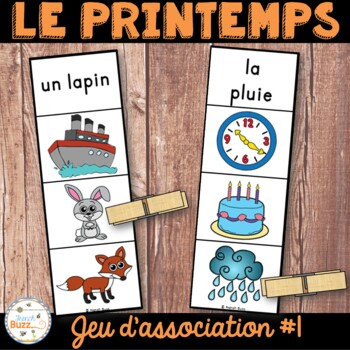Printemps - jeu d'association #1 - French Spring Clip Cards
