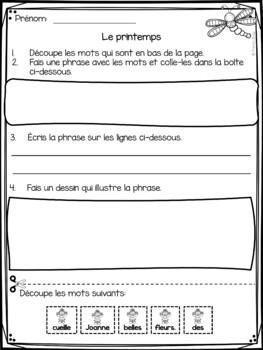 Printemps - phrases mêlées - French Spring scrambled sentences