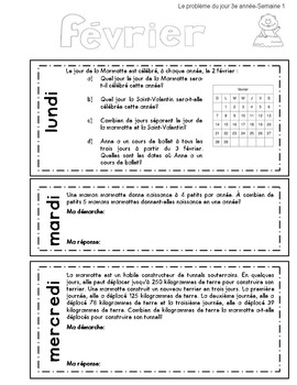 Le problème du jour – 3e année/ Problem of the Day Gr.3 in French
