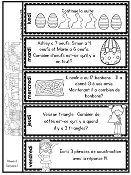 Le problème du jour: First Grade French Math Word Problem of the day (April)