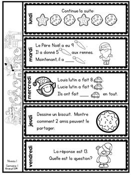 Le problème du jour: First Grade French Math Word Problem of the day (December)