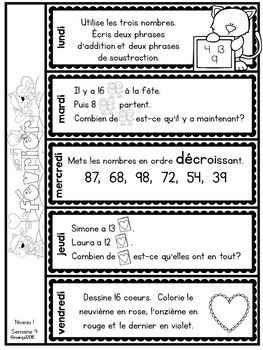 Le problème du jour: First Grade French Math Word Problem of the day (February)