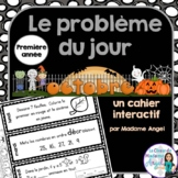 Le problème du jour: First Grade French Math Word Problem of the day (October)
