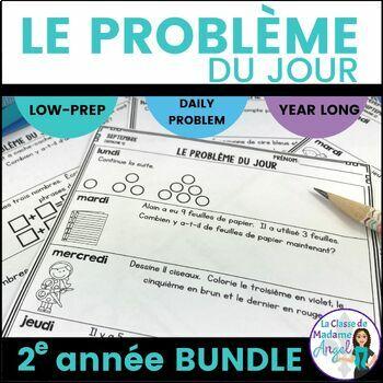 Le problème du jour: Second Grade French Math Word Problem of the Day Bundle