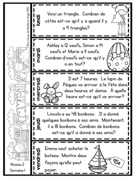 Le problème du jour: Second Grade French Math Word Problem of the day (April)