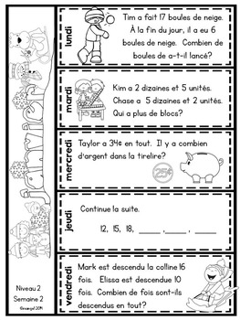 Le problème du jour: Second Grade French Math Word Problem of the day (January)