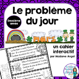 Le problème du jour: Second Grade French Math Word Problem of the day (March)