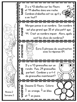Le problème du jour: Second Grade French Math Word Problem of the day (May)