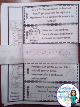 Le problème du jour: Second Grade French Math Word Problem of the day (November)