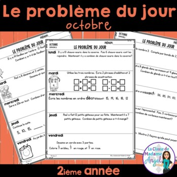 Le problème du jour: Second Grade French Math Word Problem of the day (October)