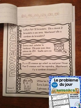 Le problème du jour: Third Grade French Math Word Problem of the Day Bundle
