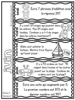 Le problème du jour: Third Grade French Math Word Problem of the Day (June)