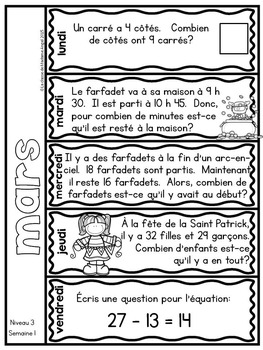 Le problème du jour: Third Grade French Math Word Problem of the Day (March)