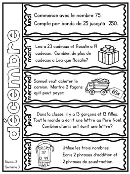 Le problème du jour: Third Grade French Math Word Problem of the day (December)