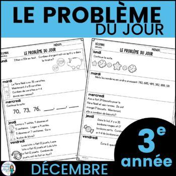 Le problème du jour: Third Grade French Math Word Problem of the day (December)