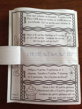 Le problème du jour: Third Grade French Math Word Problem of the day (February)