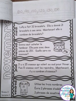 Le problème du jour: Third Grade French Math Word Problem of the day (November)