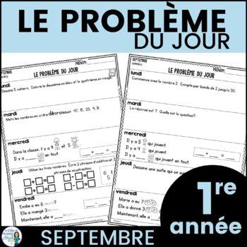 Le problème du jour: First Grade French Math Word Problem