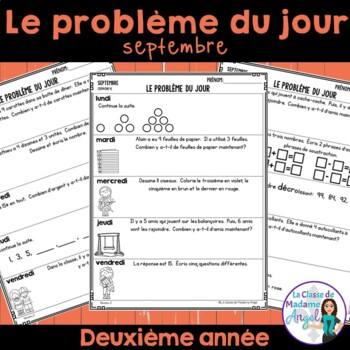 Le problème du jour:Second Grade French Math Word Problem of the day (September)