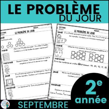 Le problème du jour:Second Grade French Math Word Problem