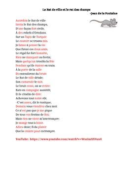 Le rat de ville et le rat des champs Cloze listening activity