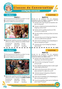 Le shopping - French Speaking Activity