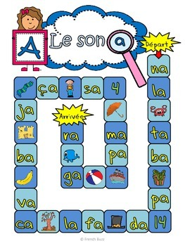 "Le son ""a"" - jeu de l'oie Board Game French"
