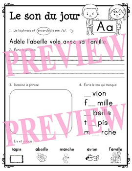 Le son du jour - A - Z (French alphabet letter sound pages from A to Z)