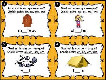 Le son en-an-em-am - Cartes à tâches - French Sounds Task Cards