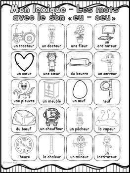 """Le son """"eu"""", """"oeu"""" (ouvert) - mur de mots et lexique"""