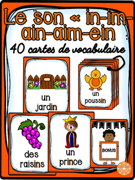 """Le son """"in, im, ain, aim, ein"""" - 40 cartes de vocabulaire"""
