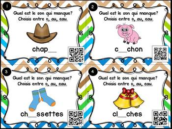 Le son o-au-eau - Cartes à tâches - Codes QR - French Sounds Task Cards