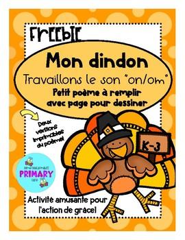 Le Son Onom Fun French Turkey Poem Activity Tpt