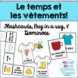 Le temps et les vêtements - flashcards, bug in a rug, and domino game