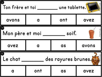"""Le verbe """"avoir"""" - jeu d'association"""