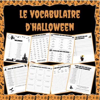 Le vocabulaire d'Halloween - 7 activities and no prep worksheets