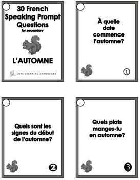 Le vocabulaire d'automne - 30 French speaking question prompts - Fall Vocabulary